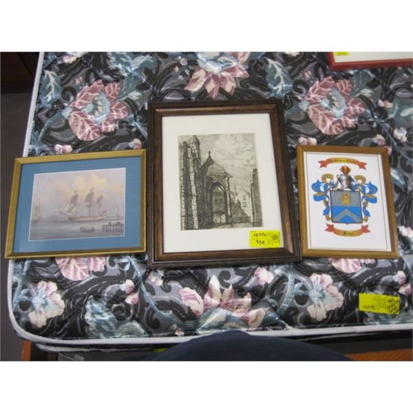 3 FRAMED PICTURES, THE COAT OF ARMS & SAILING SHIP & OLD BUILDINGS