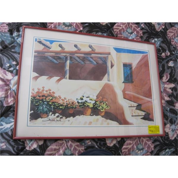 FRAMED PRINT OF THE FLOWERS & BUILDINGS BY SHARON TOWLE