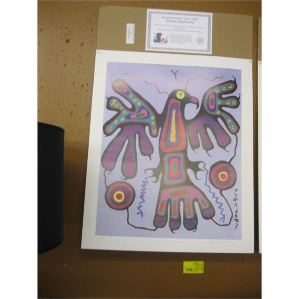 PRINT BY NORVAL MORRISSEAU, NO. 74/950 CALLED BLUE THUNDERBIRD