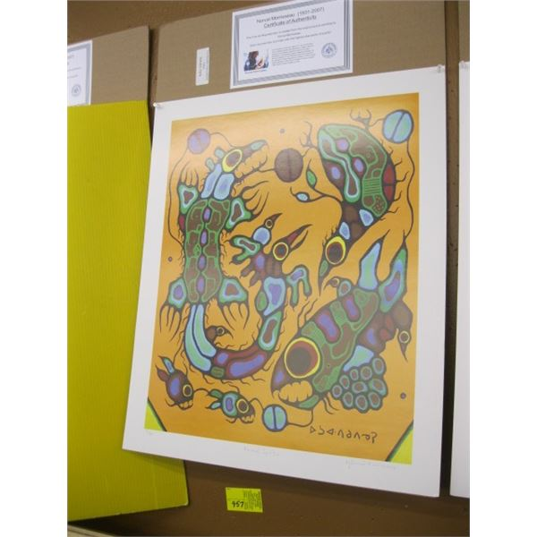 PRINT BY NORVAL MORRISSEAU, NO. 12/99, ANIMAL SPIRITS