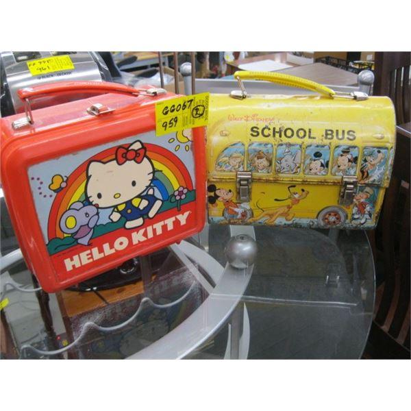 1 DISNEY METAL SCHOOLBUS LUNCH BOX & 1 HELLO KITTY LUNCH BOX