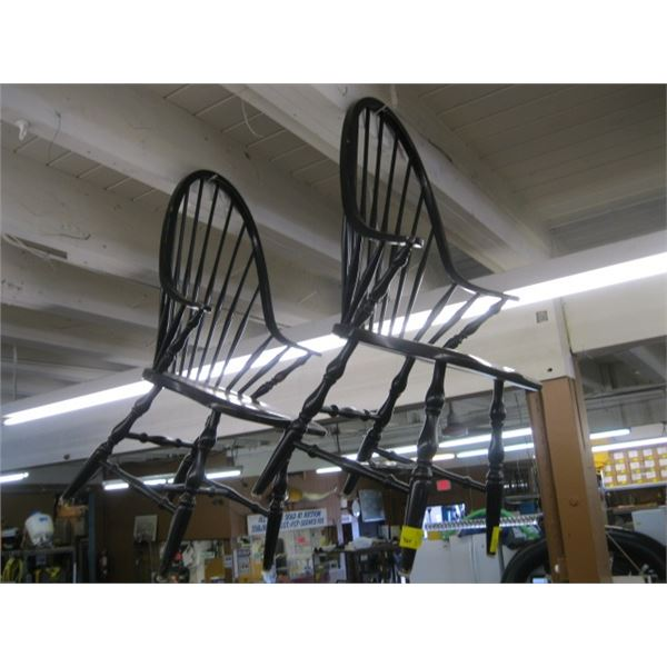 PAIR OF BLACK WOODEN ARMCHAIRS