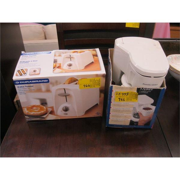 PROCTER SILEX SMALL COFFEE MAKER & DURABRAND 2 SLICE TOASTER