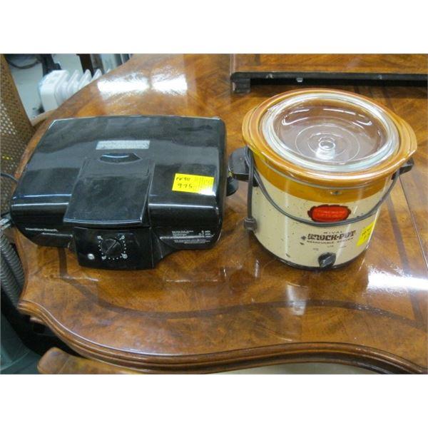 HAMILTON BEACH ELECTRIC GRILL, BROKEN SWITCH & A CROCKPOT