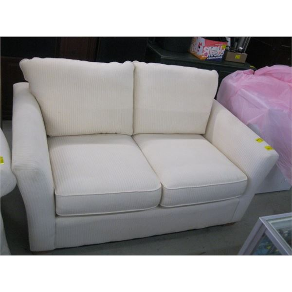SMALL LIGHT COLORED LOVESEAT & WHITE UPHOLSTERED CHAIR