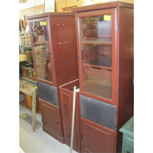 LG. ENTERTAINMENT CABINET WITH GLASS DOORS & UPPER CABINET