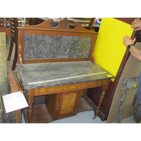 MARBLE TOP & BACK WASH STAND WITH THE FIGURE WALNUT FRONT PANELS