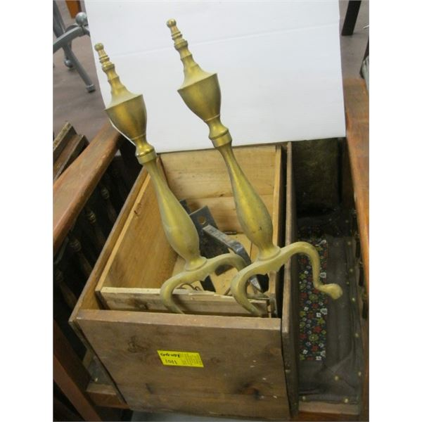 2 WOODEN BOXES & A SET OF BRASS FIRE DOGS