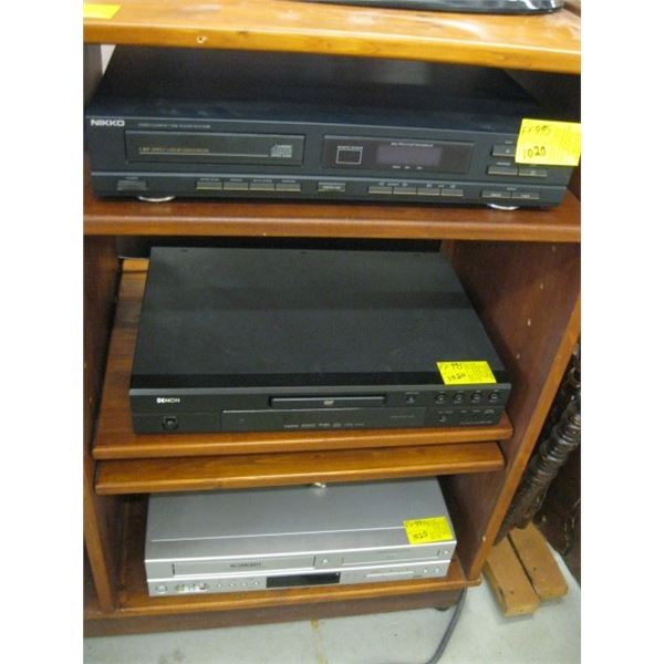 NIKKO CD PLAYER, DENON CD PLAYER & CURTIS DVD/VHS PLAYER