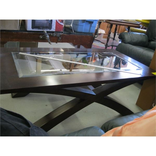 WOOD FRAMED GLASS CENTERED COFFEE TABLE