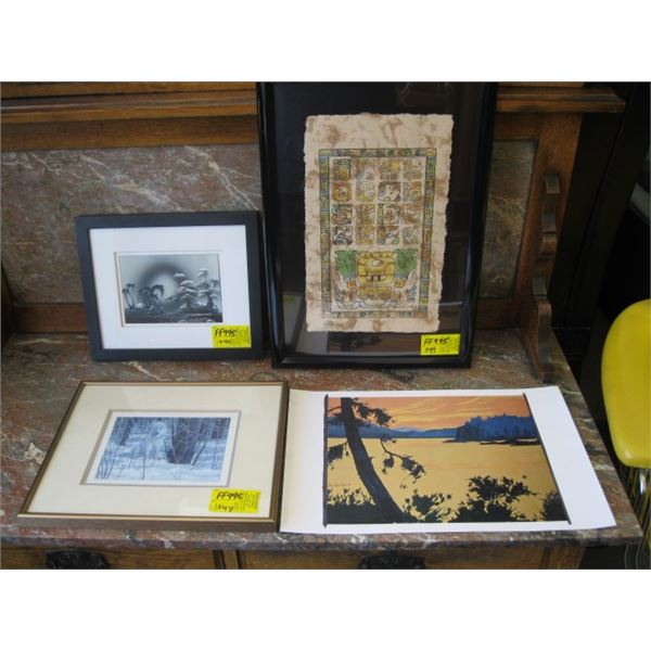 3 FRAMED PICTURES & 1 UNFRAMED PRINT WITH THE WOLF, PAPYRUS PAPER & THE PALM TREES