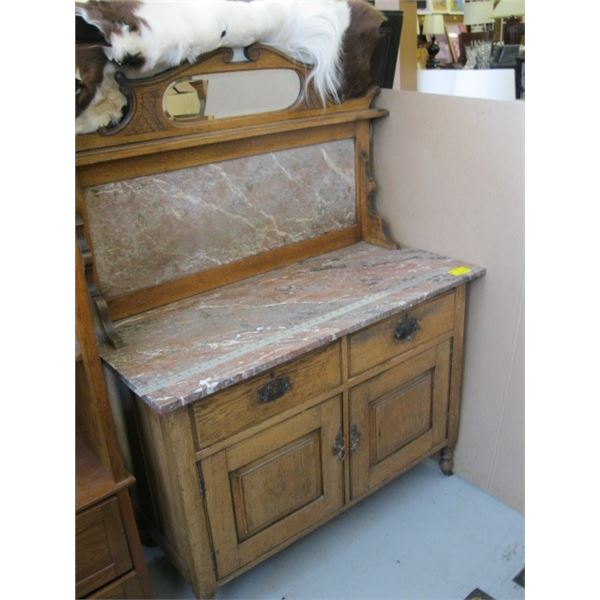 MARBLE WASHSTAND WITH OAK FRAME & BEVELLED MIRROR