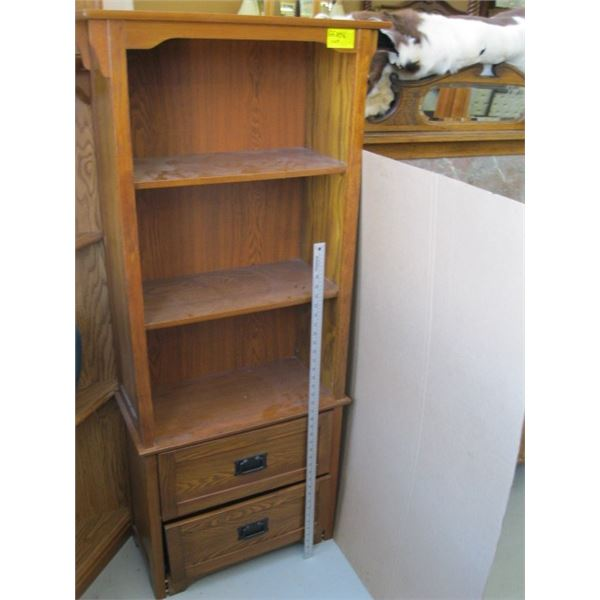 SMALL SHELF UNIT WITH 2 DRAWERS
