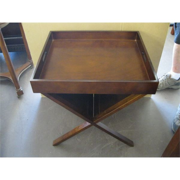 STAND WITH WOODEN TRAY