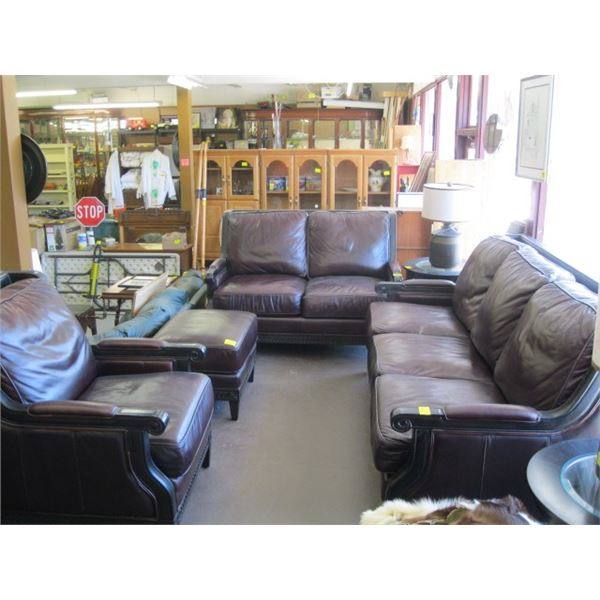 SOLID FRAMED LEATHER 4 PIECE SOFA, LOVESEAT, CHAIR & FOOTSTOOL. CHAIR HAS SOME MARKINGS ON BACK. ORI