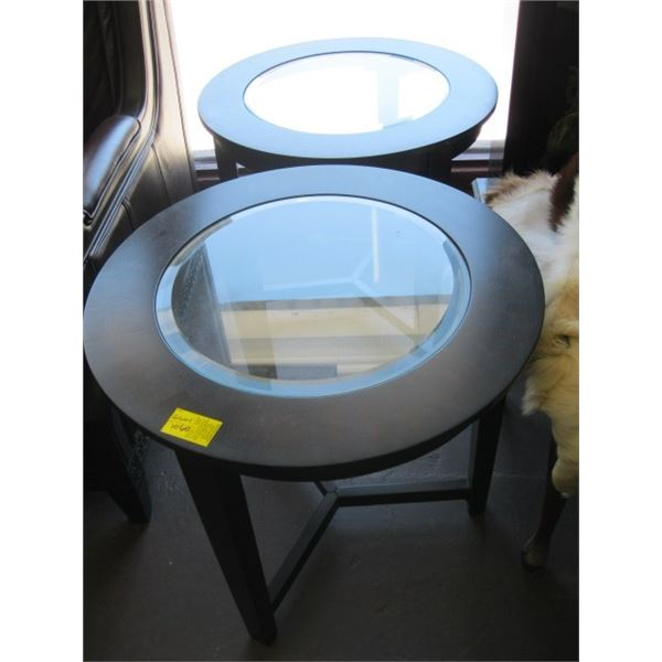 3 PIECE GLASS TOPPED COFFEE & END TABLE SET