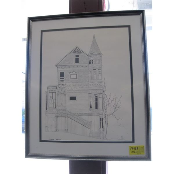 FRAMED PRINT OF THE HOUSE WITH TURRET BY STEVE COGAN