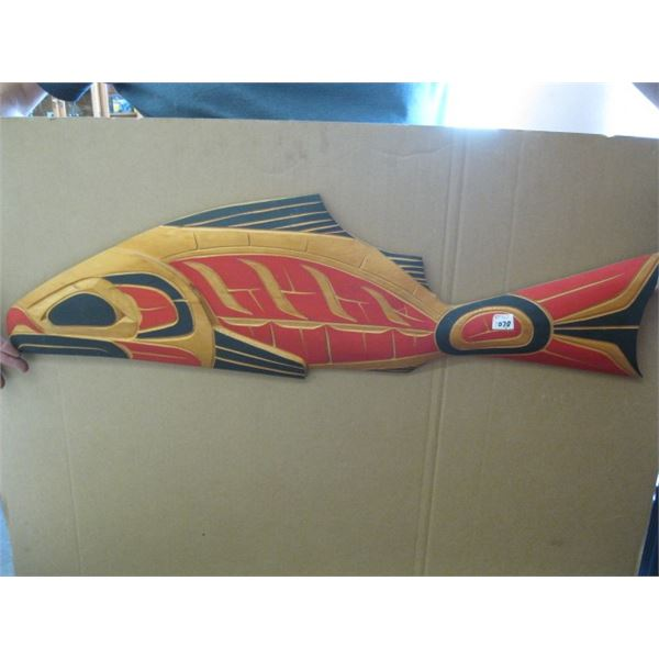 NATIVE CARVING BY GUS MOOESTE, SALMON 2001