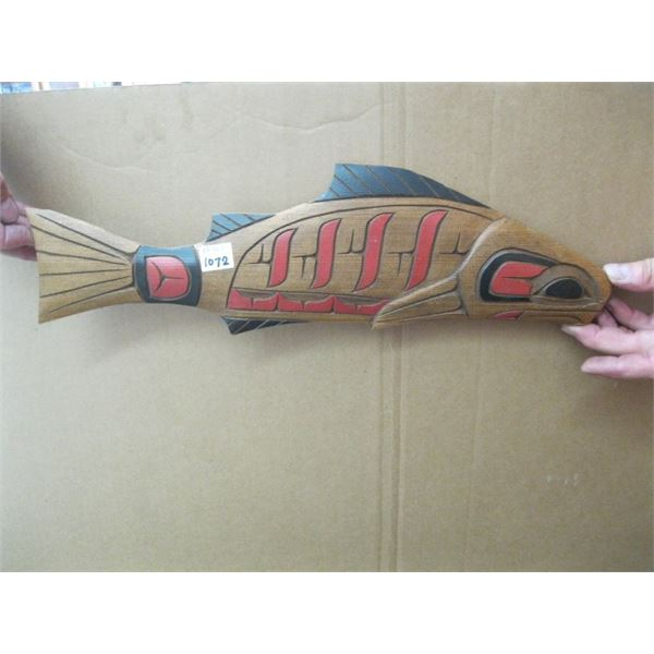 WOODEN NATIVE CARVING, THE SALMON, UNSIGNED