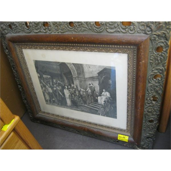 ANTIQUE PICTURE FRAME WITH ETCHED PRINT, CHRIST BEFORE PILATE