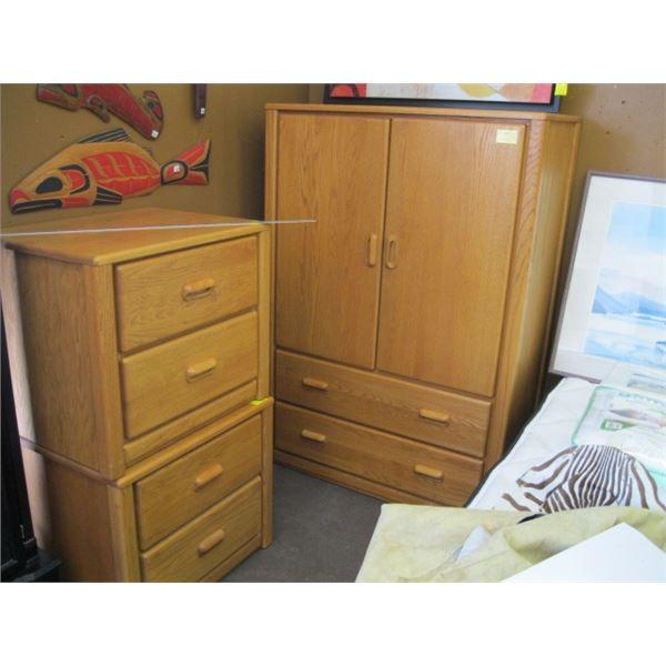 4 PIECE OAK BEDROOM SUITE, MIRRORED DRESSER, HIGHBOY CHEST & 2 2 DRAWER NIGHT STANDS