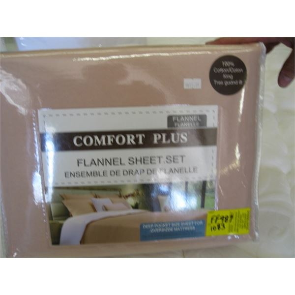 COMFORT PLUS FLANNEL SHEET SET FOR KING SIZE BED