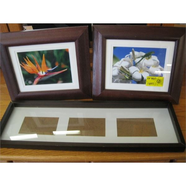 PAIR OF FRAMED PHOTOGRAPHS & A 3 PICTURE PICTURE FRAME