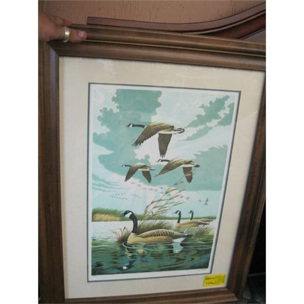 FRAMED PRINT OF THE CANADA GEESE BY LARRY TASCHIK, WILD CRY OF MORNING WITH CERTIFICATE OF AUTHENTIC