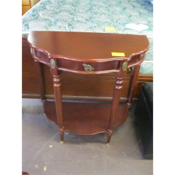 HALF MOON SINGLE DRAWER SMALL OCCASIONAL TABLE