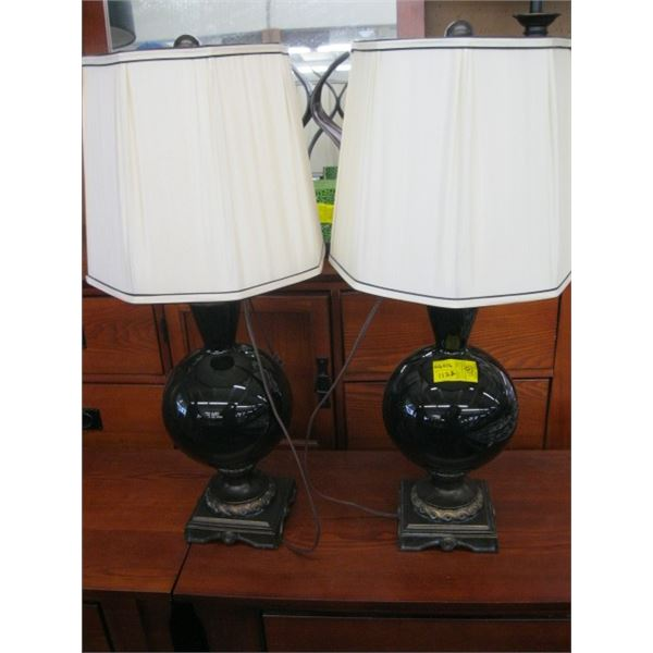 PAIR OF DARK GLASS LAMPS WITH SHADES