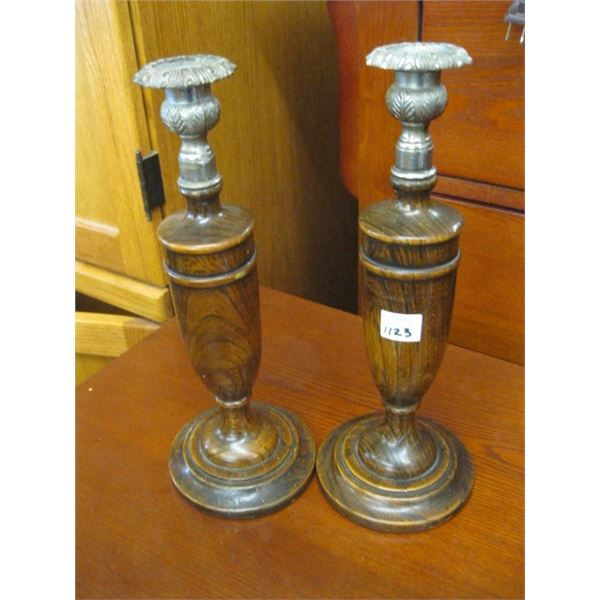 PAIR OF OAK ANTIQUE CANDLE HOLDERS