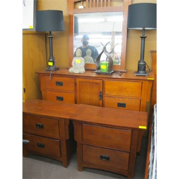 4 PIECE BEDROOM SUITE, INCLUDING BED FRAME, MIRRORED DRESSER & 2 NIGHT STANDS