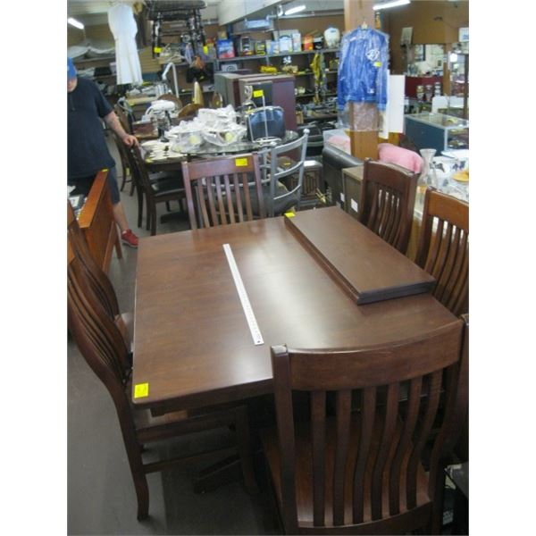 LG. SOLID WOOD DINING TABLE WITH 6 CHAIRS & 2 LEAVES