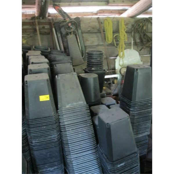 LG. LOT OF BLACK PLANTER POTS, **ITEM OFF SITE, CALL FOR VIEWING APPOINTMENT**