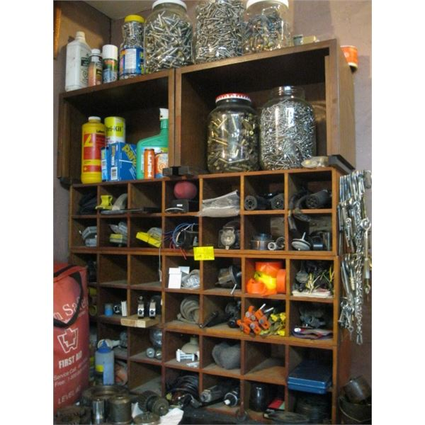 MISC. NUTS, BOLTS, ETC. IN WOOD CUBBY CABINETS, **ITEM OFF SITE, CALL FOR VIEWING APPOINTMENT**