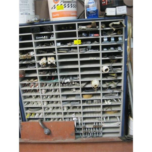 LG. WOODEN PARTS ORGANIZER SHELF WITH CONTENTS, **ITEM OFF SITE, CALL FOR VIEWING APPOINTMENT**