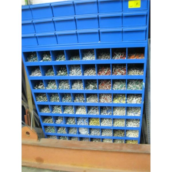 LG. BLUE METAL PARTS ORGANIZER WITH CONTENTS, **ITEM OFF SITE, CALL FOR VIEWING APPOINTMENT**