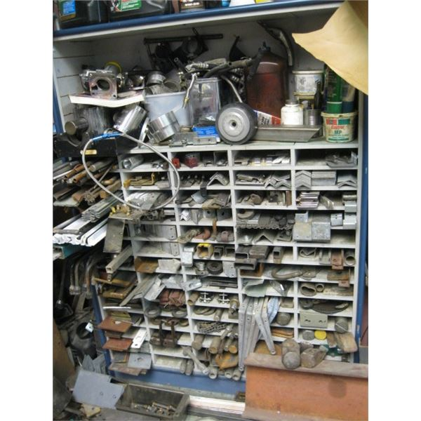 LG. WOOD PARTS ORGANIZER WITH CONTENTS, **ITEM OFF SITE, CALL FOR VIEWING APPOINTMENT**