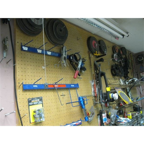 2 WALLS OF MISC. GRINDING, DISC, TOOLS, ETC., **ITEM OFF SITE, CALL FOR VIEWING APPOINTMENT**