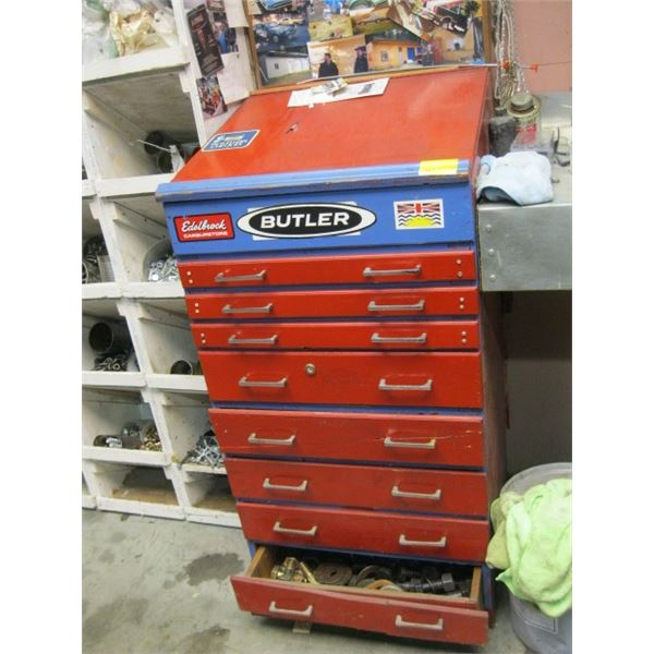 8 DRAWER CABINET WITH CONTENTS, **ITEM OFF SITE, CALL FOR VIEWING APPOINTMENT**