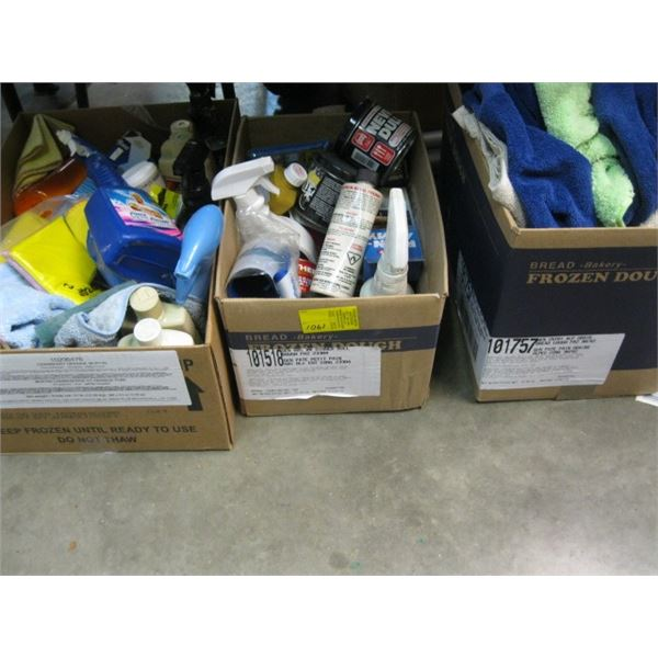 3 BOXES OF CAR CLEANERS & RAGS, **ITEM OFF SITE, CALL FOR VIEWING APPOINTMENT**