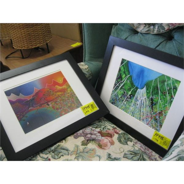 2 ABSTRACT PRINTS IN FRAME