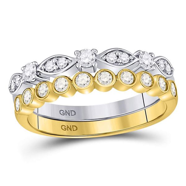 Round Diamond 2-piece Stackable Band Ring 1/2 Cttw 10KT Two-tone Gold