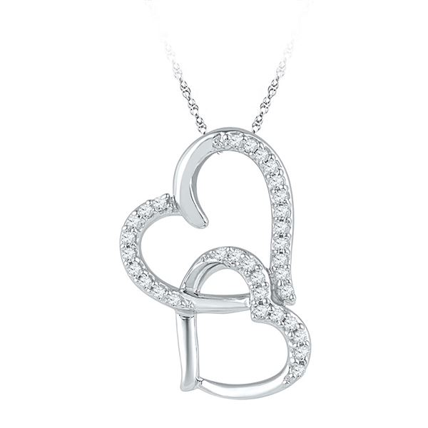 Round Diamond Linked Double Heart Pendant 1/10 Cttw 10KT White Gold