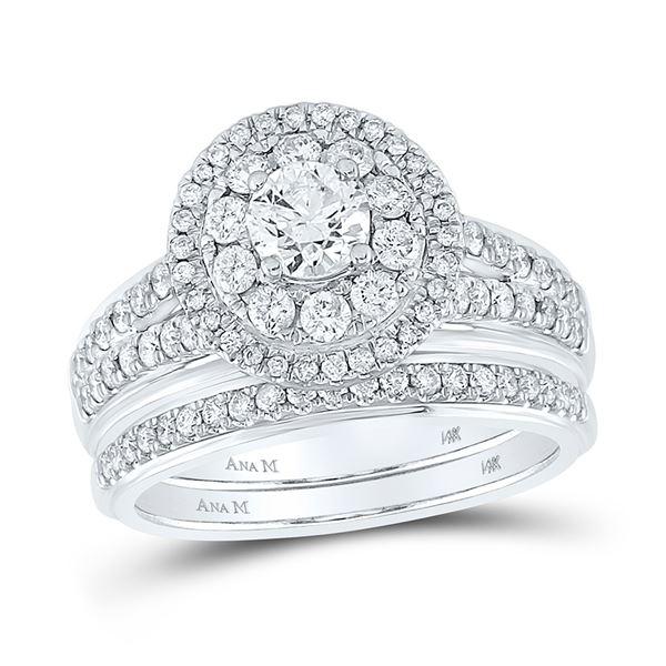 Diamond Bridal Wedding Ring Band Set 1-1/5 Cttw 14KT White Gold