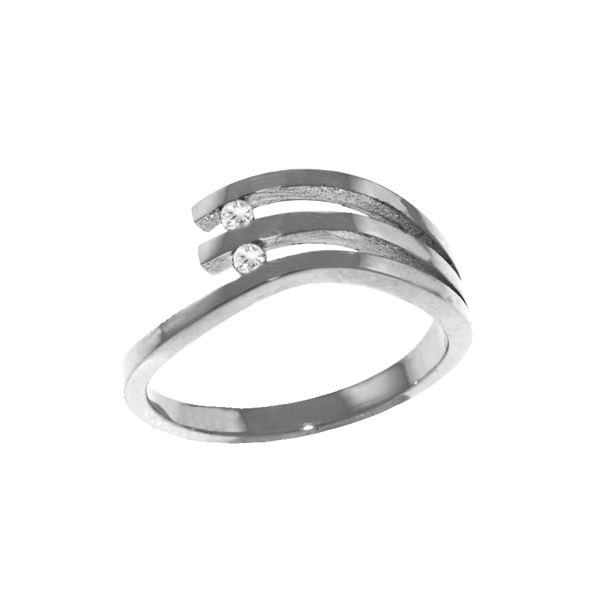 Genuine 0.06 ctw Diamond Anniversary Ring 14KT White Gold - REF-52Y2F