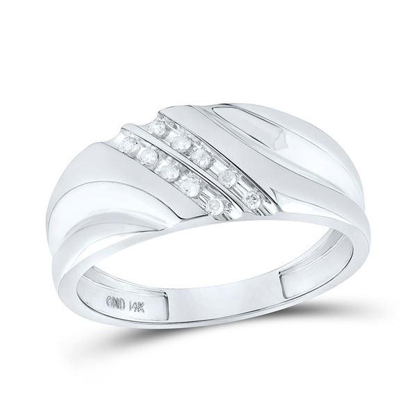 Round Diamond Wedding Band Ring 1/8 Cttw 14KT White Gold
