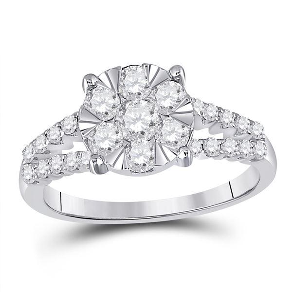 Round Diamond Flower Cluster Ring 1 Cttw 14KT White Gold