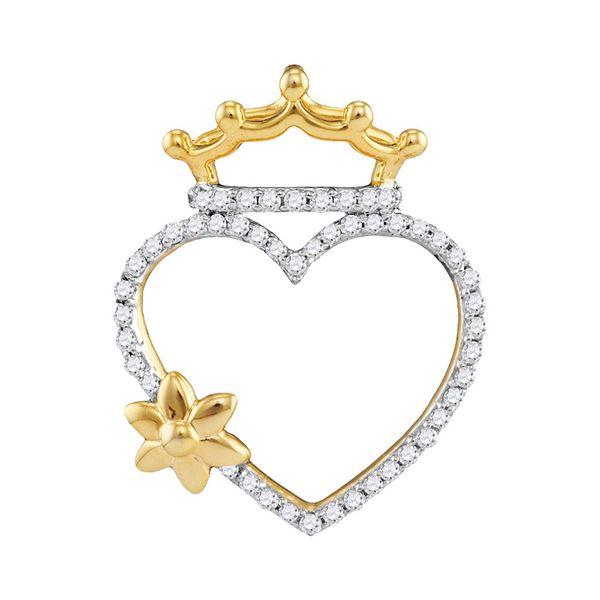 Round Diamond Heart Crown Flower Pendant 1/4 Cttw 10KT Yellow Gold
