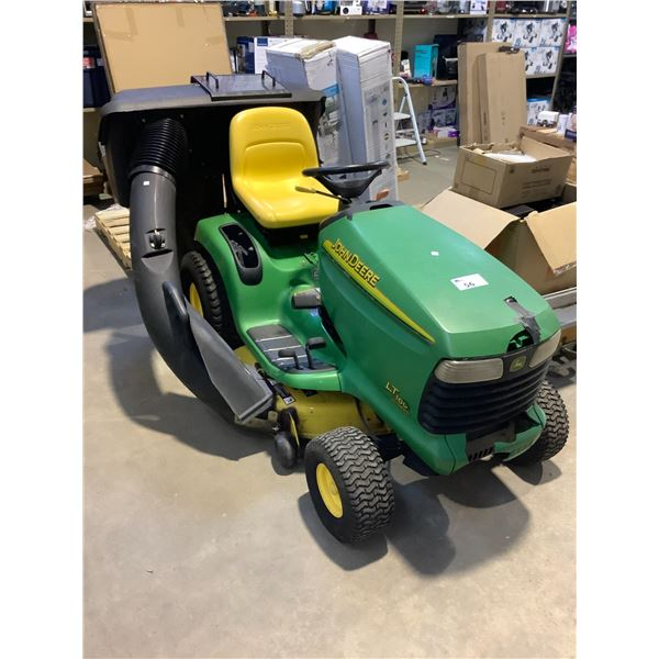 JOHN DEER 16HP AUTOMATIC MOWER MODEL LT160 (UNKNOWN CONDITION, NO KEYS, SOME COSMETIC DAMAGE)